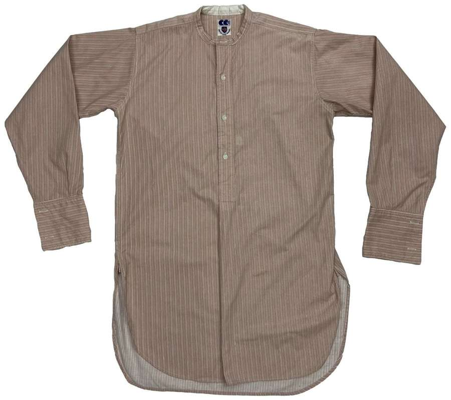 Original 1940s CC41 Striped Collarless Shirt by 'Water Lane Brand' (2)