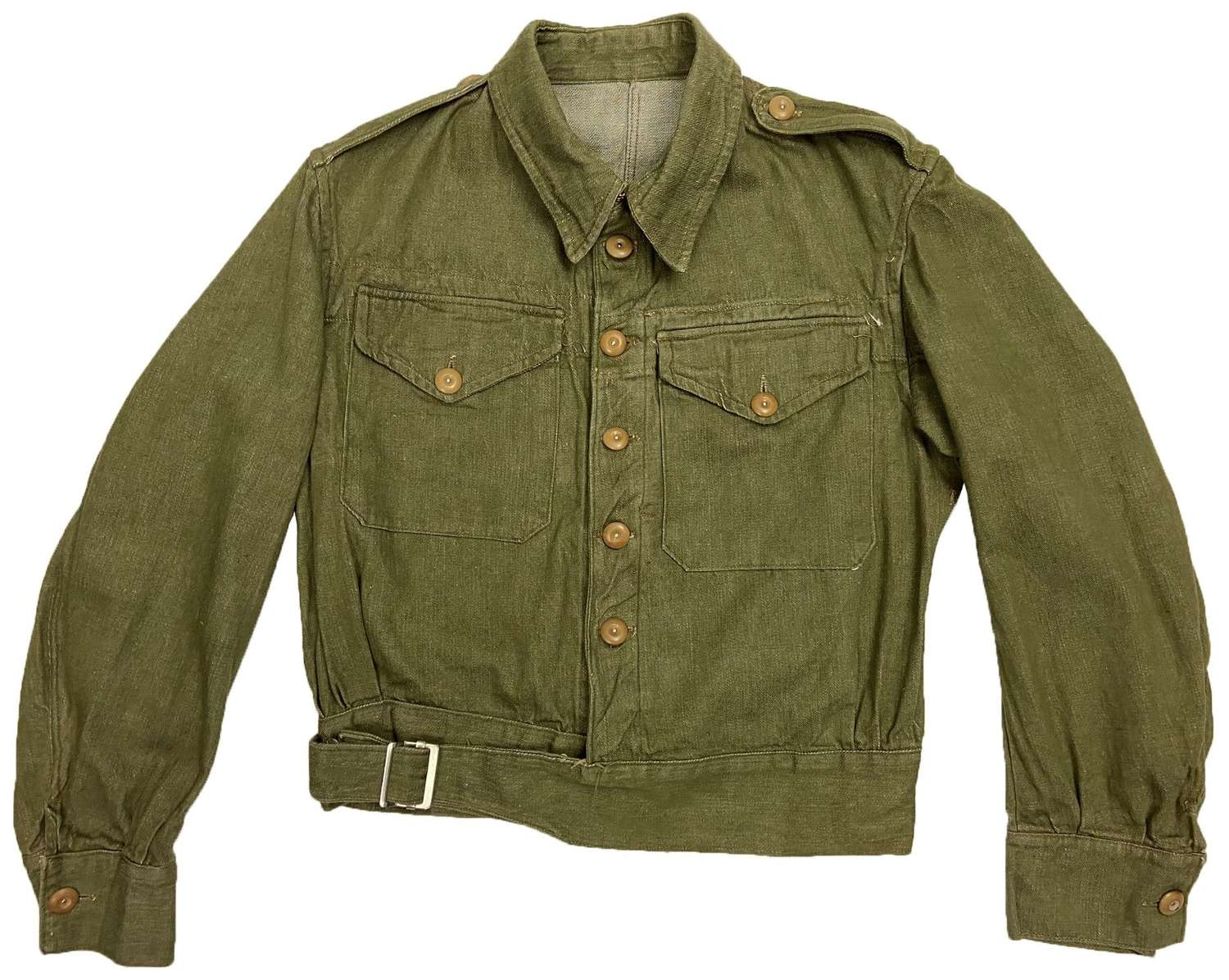 Original 1945 Dated British Army Denim Battledress Blouse - Size 4