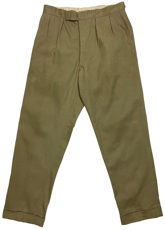 Original 1950s British Khaki Cotton Work Trousers