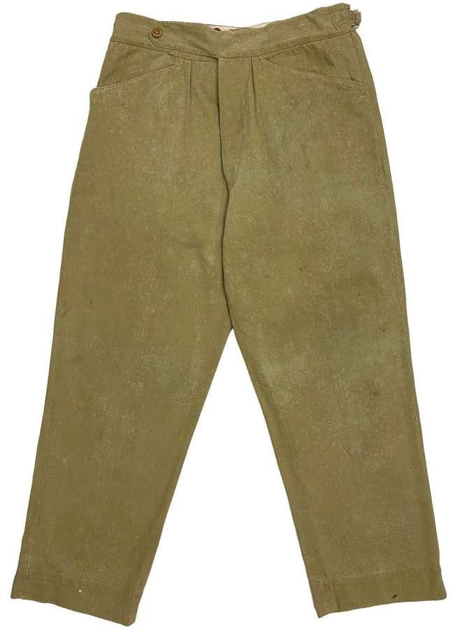 Original 1940s British Army Private Purchase Khaki Drill Trousers