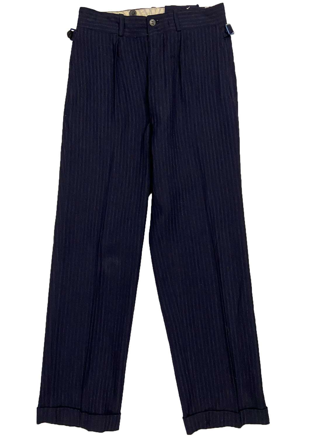 Original 1940s French Striped Wool Trousers