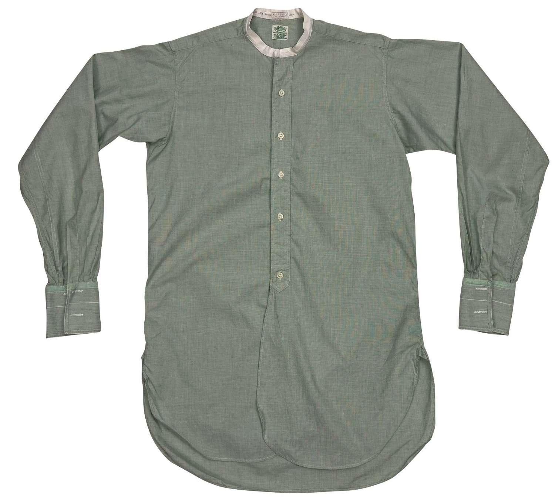 Original 1950s Green Poplin Cotton Collarless Shirt by 'Cotella'
