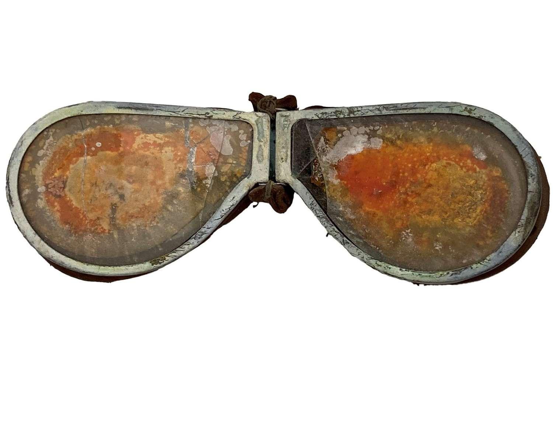 Original WW2 British Army MT Goggles + Case - Orange Lenses