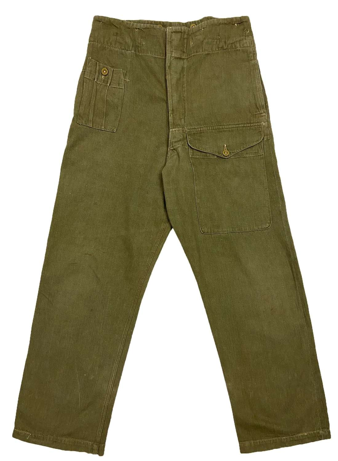 Original 1950 Dated British Army Denim Battledress Trousers - Size 7