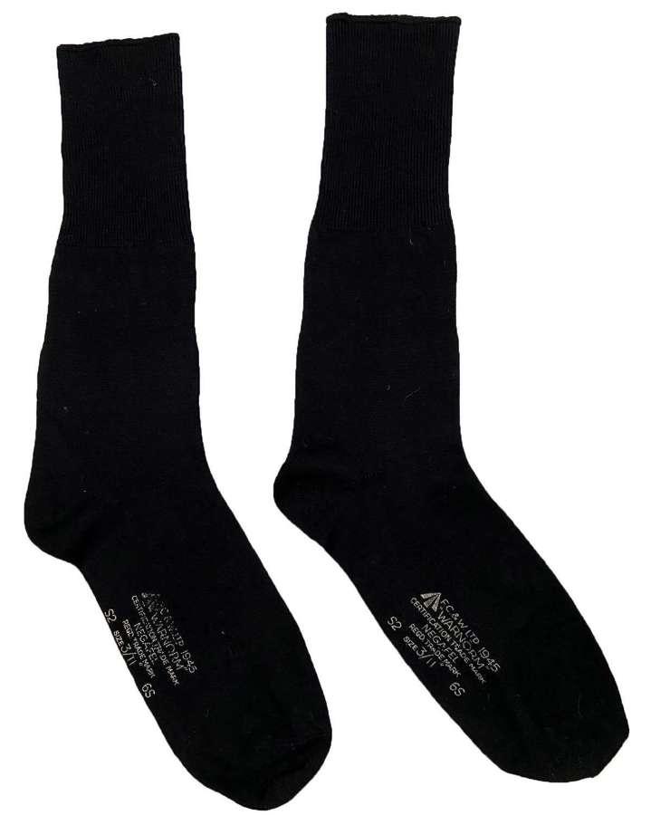 Rare Original 1945 Dated RAF Black Wool Socks by 'F. C. & W Ltd'