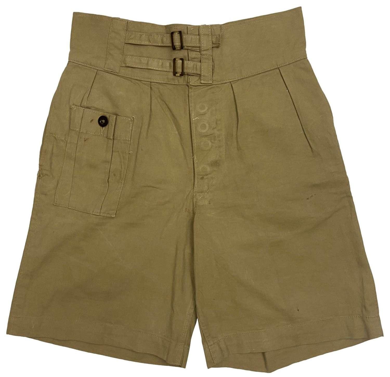 An original pair of British 1941 Pattern Khaki Drill Shorts dated 1943