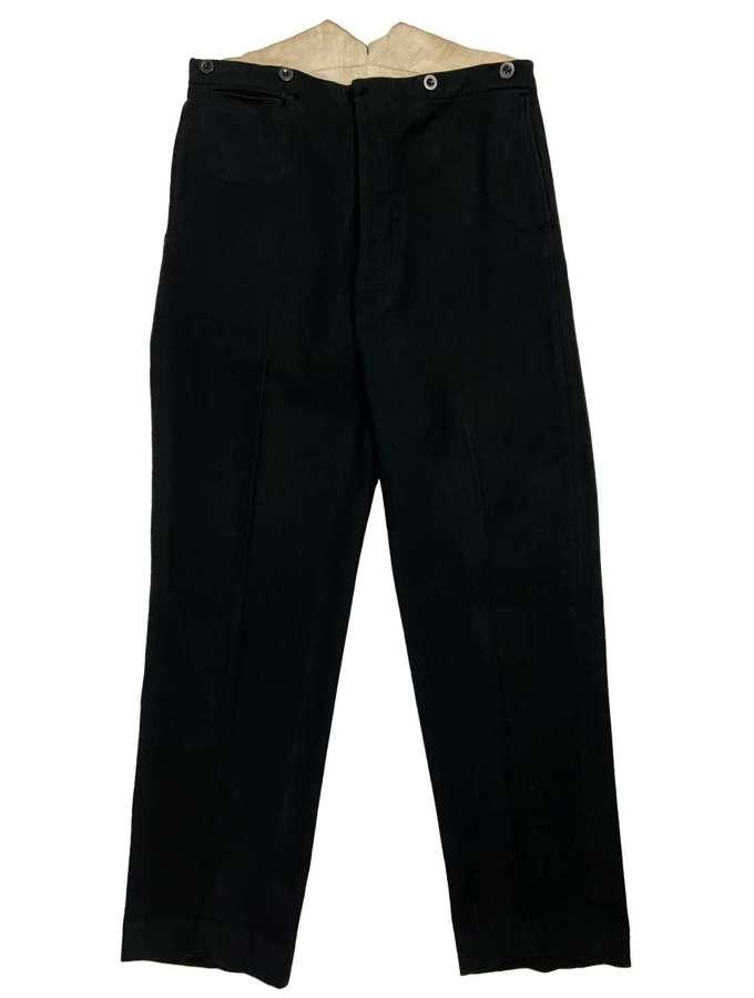 Original 1920s Black Wool Trousers
