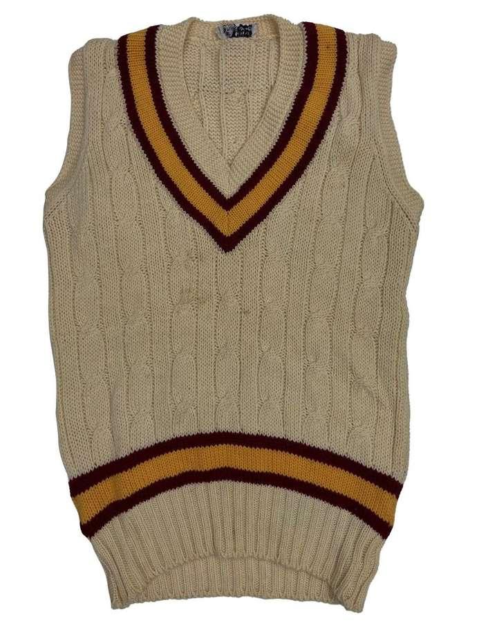Original 1960s British Sleeveless Cricket Jumper by 'Foster & Co'