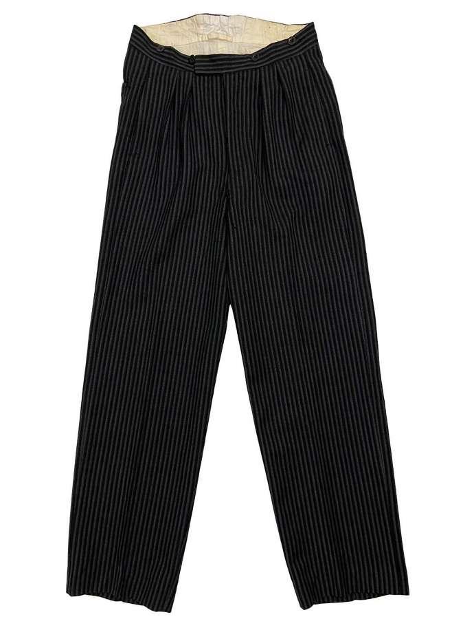 Original 1940s Men's Morning Stripe Trousers by 'McLaren'