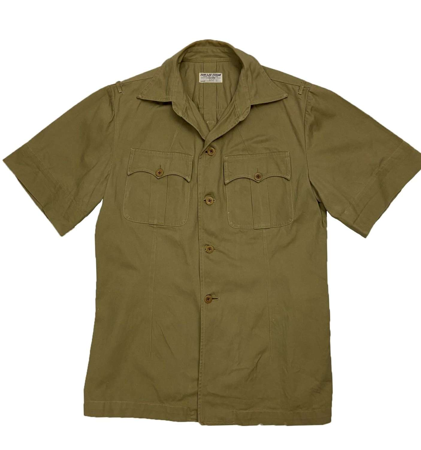 Original 1950s British Military Khaki Drill Shirt by 'Tom Lee Tailor'