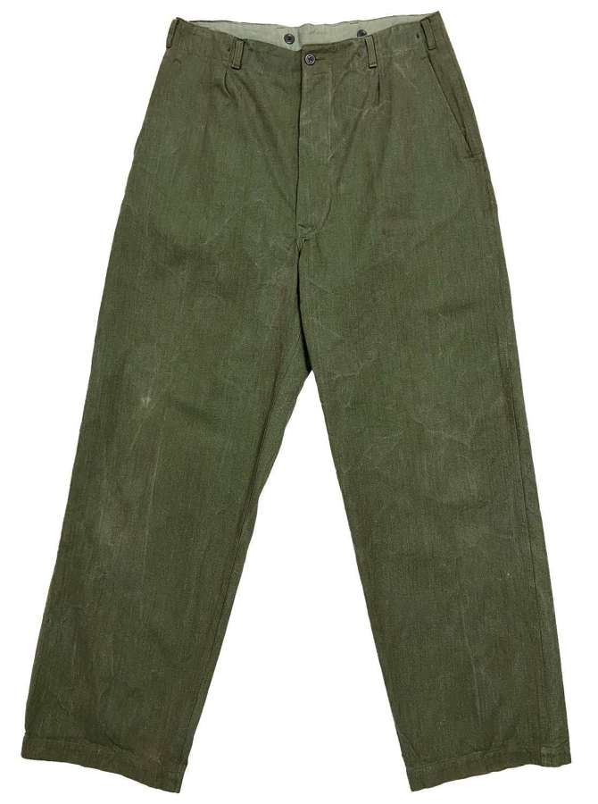 Original 1950s European Military Cinch Back Work Trousers
