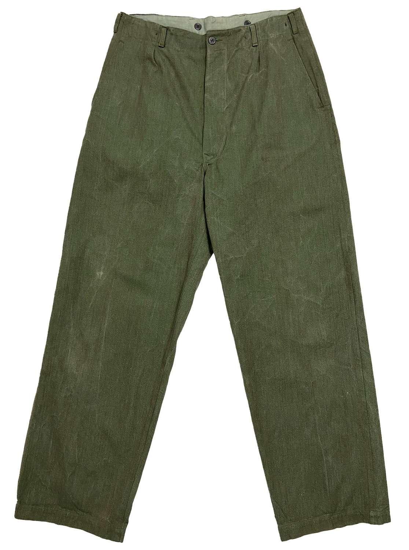 Original 1950s European Military Cinch Back Work Trousers
