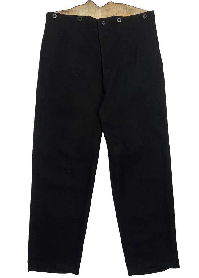Original 1920s British Black Barathea Wool Fishtail Back Trousers