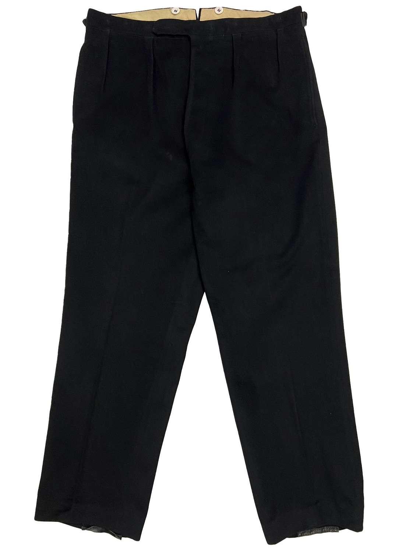 Original 1940s European Black Moleskin Men's Trousers