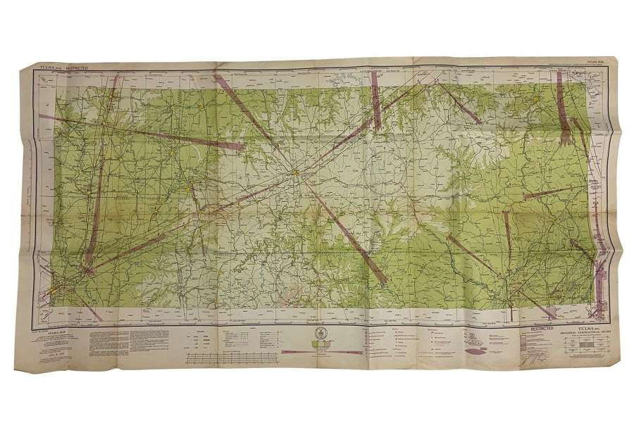 Original 1943 Dated USAAF / RAF Map of Tulsa