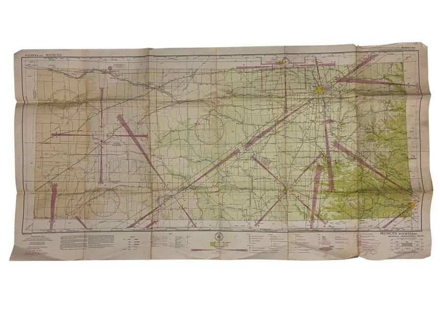 Original 1943 Dated USAAF / RAF Map of Wichita