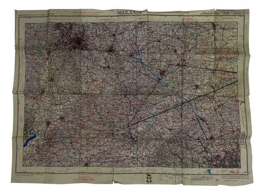Original 1943 Dated RAF / USAAF Map - Midlands