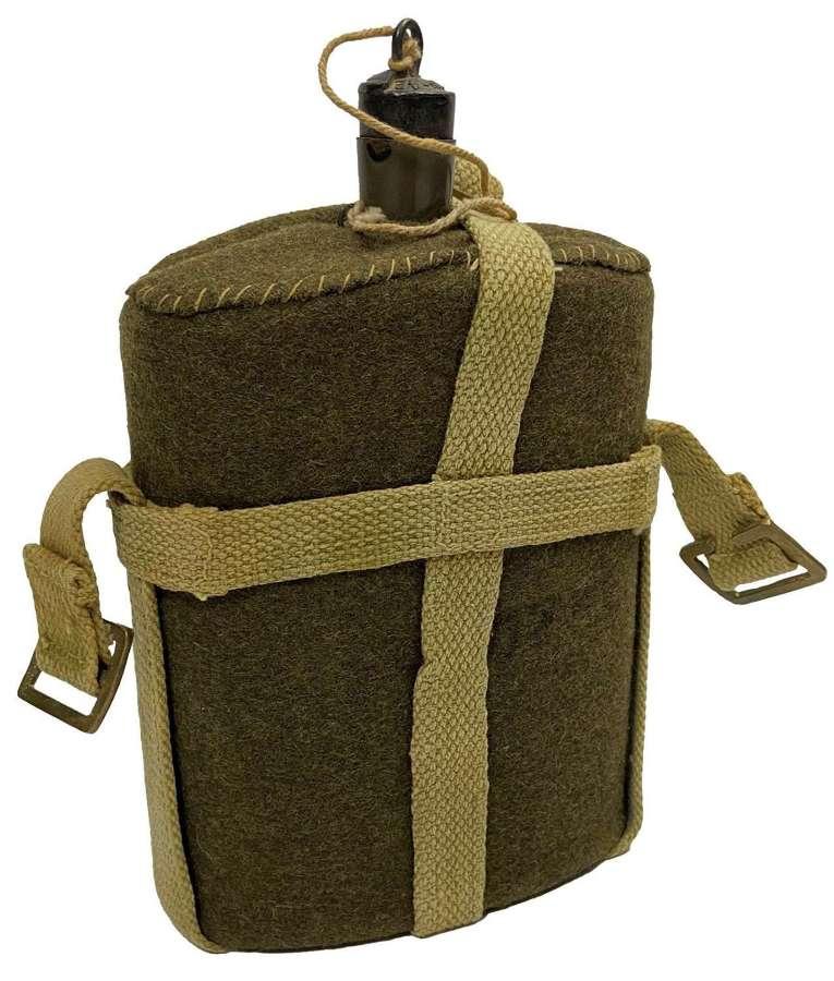 Original British Army MK VII Water Bottle and Indian Webbing Cradle