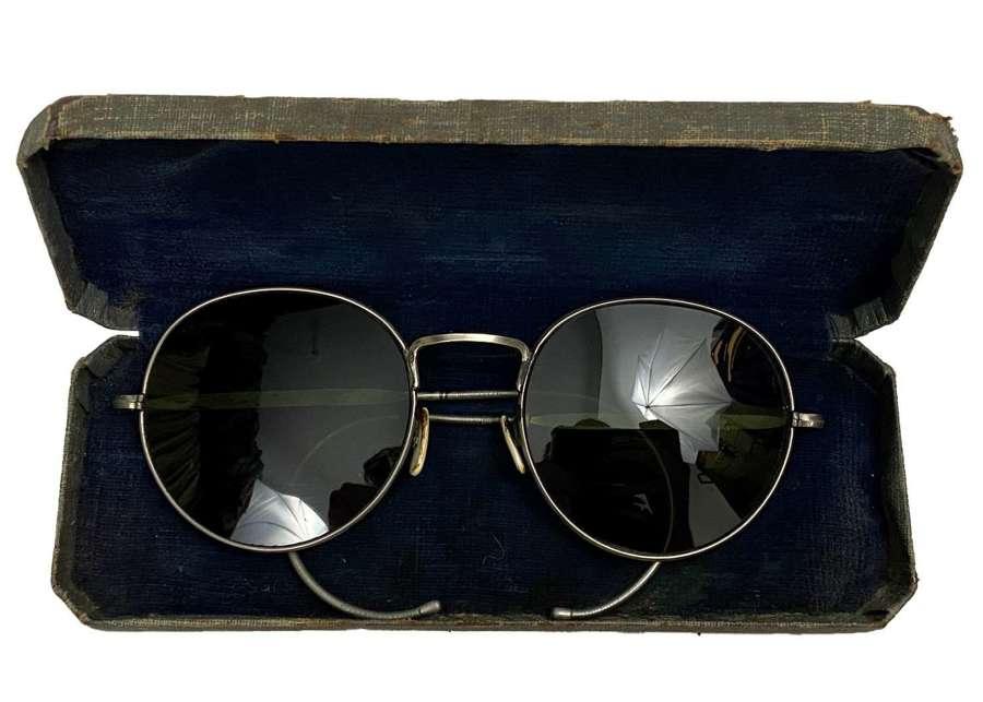 Original WW2 RAF MK VIII Anti Glare Spectacles + Case - Size Medium