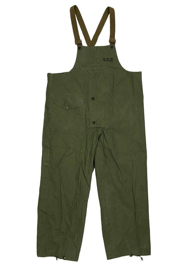 Original WW2 USN Navy Waterproof Bib & Brace Trousers