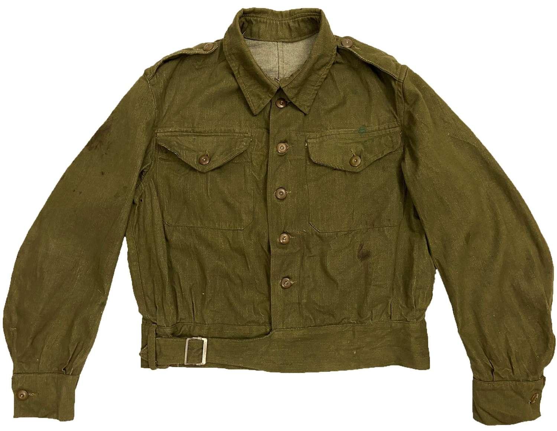 Rare Original 1943 Dated British Army Denim Battledress Blouse Size 8