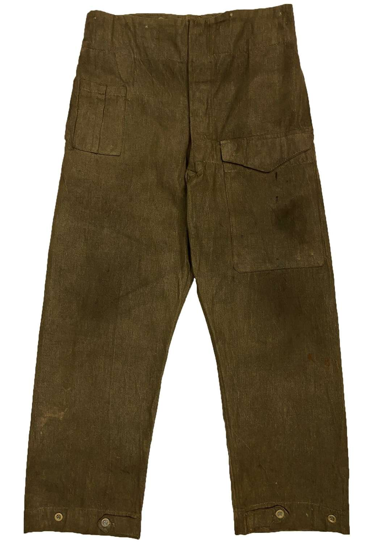 Scarce Original 1940 Dated First Pattern Denim Battledress Trousers