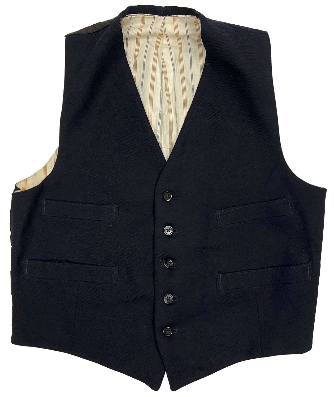 Original 1940s Men's Five Button Navy Blue Waistcoat