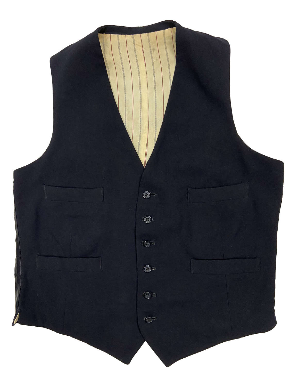 Original 1940s Men's Navy Blue Wool Six Button Waistcoat