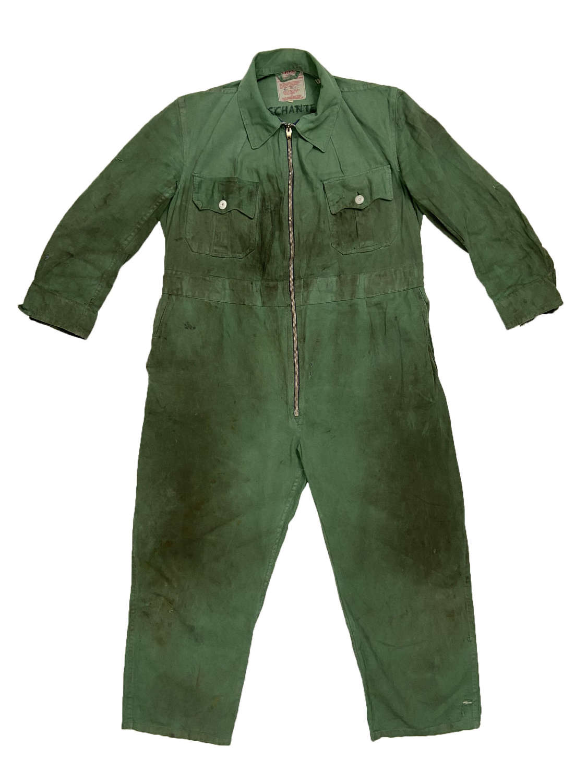 Original 1950s Green Cotton Zip Front British Overalls