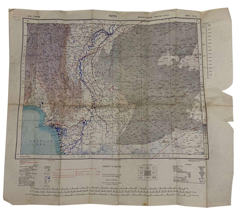 Original 1944 Dated RAF Map of SIND - 670 Squadron