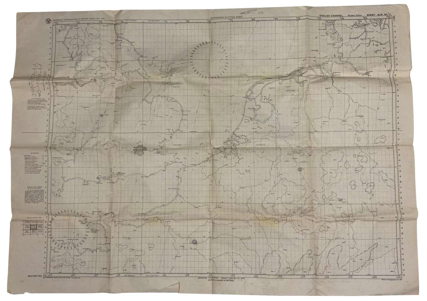 Original 1941 Dated USAAF Astrograph Plotting Map - English Channel
