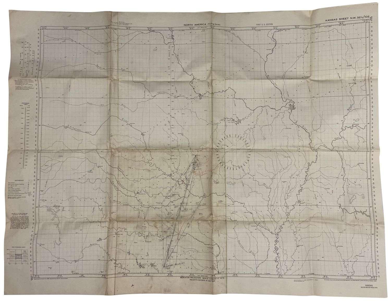 Original 1942 Dated USAAF / RAF Plotting Map - Kansas