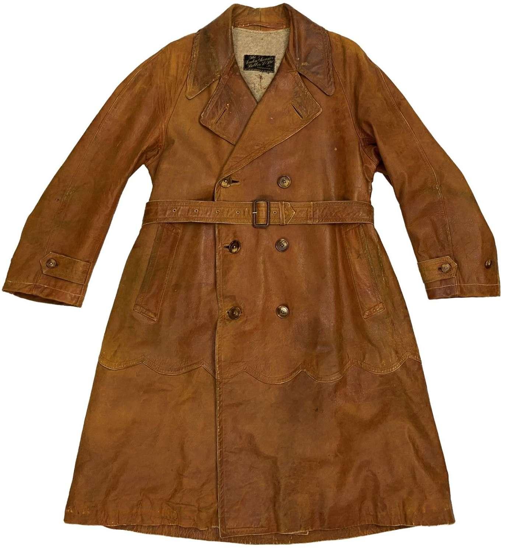 Original Early 20th Century Leather Aviation / Motoring Coat