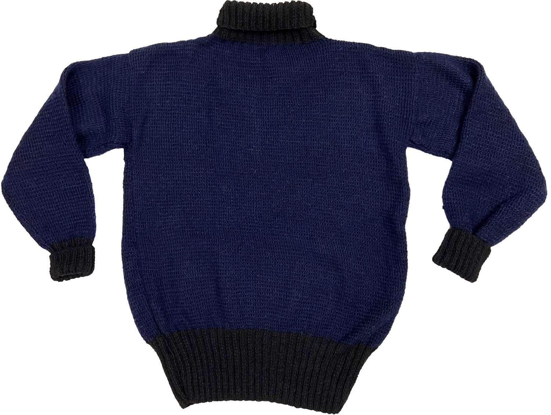 Vintage British Navy Blue and Black Wool Roll Neck Jumper