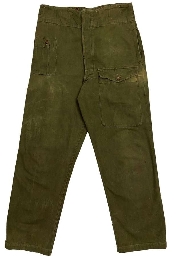 Original 1955 Dated British Denim Battledress Trousers - Size 5