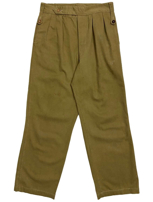 Original 1940s Indian Made British Khaki Drill Trousers