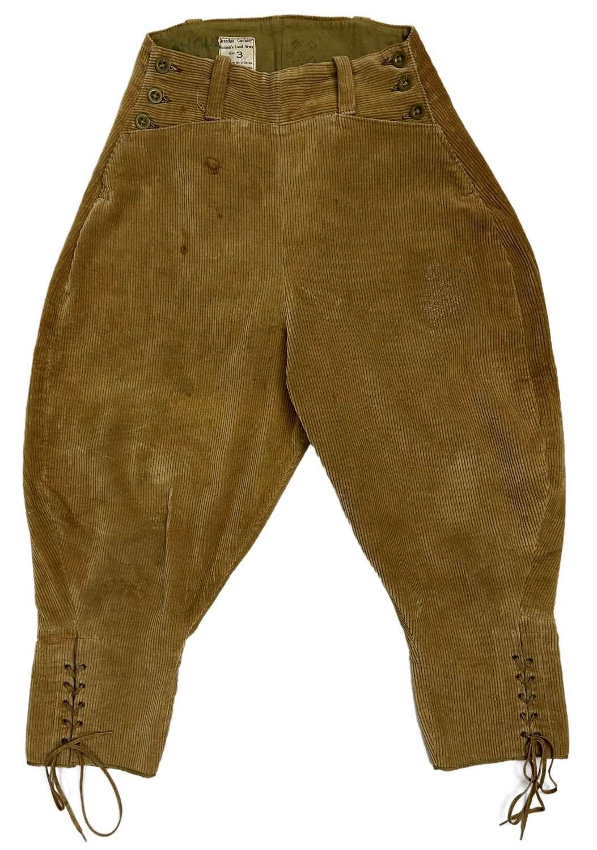 Original 1947 Dated Women's Land Army Corduroy Breeches - Size 3