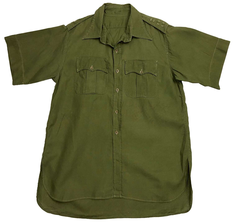 Original 1950s Colonel's Jungle Green Aertex Shirt - Large Size