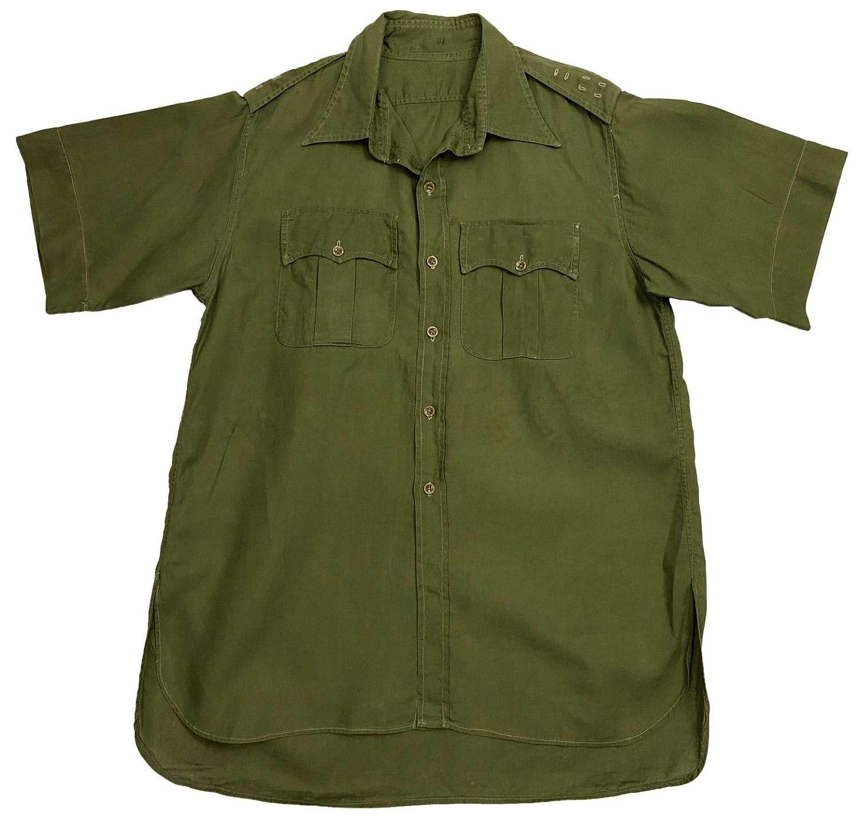 Original 1950s British Army Officers Jungle Green Aertex Shirt - LARGE