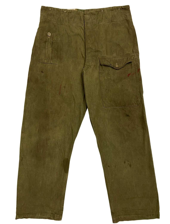 Original 1952 Dated British Denim Battledress Trousers - Size 10