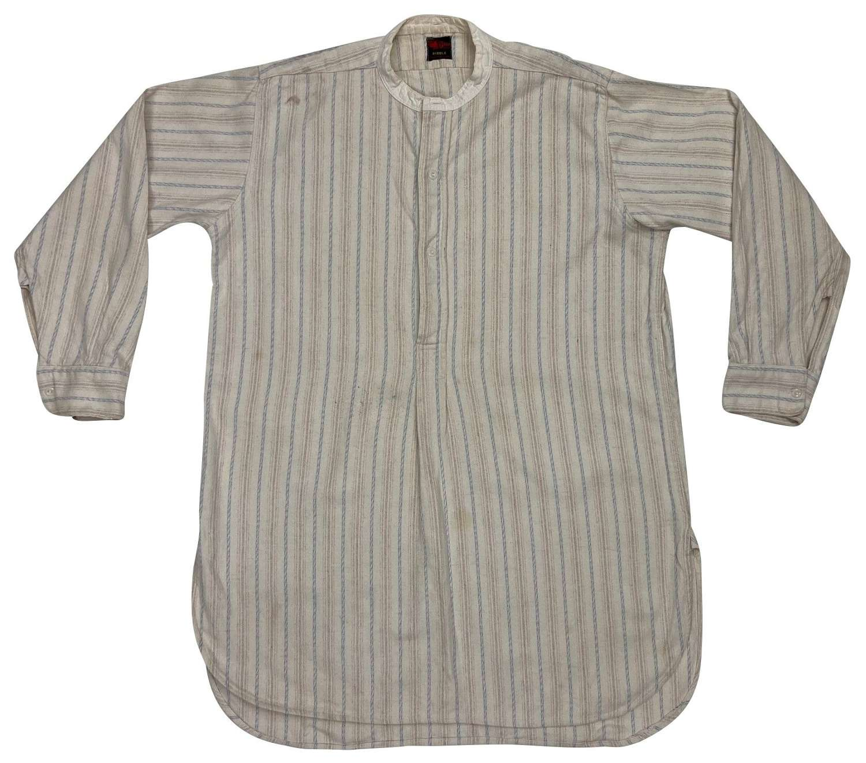 Original 1940s Men's Wool Flannel Collarless Shirt by 'Boar Brand'