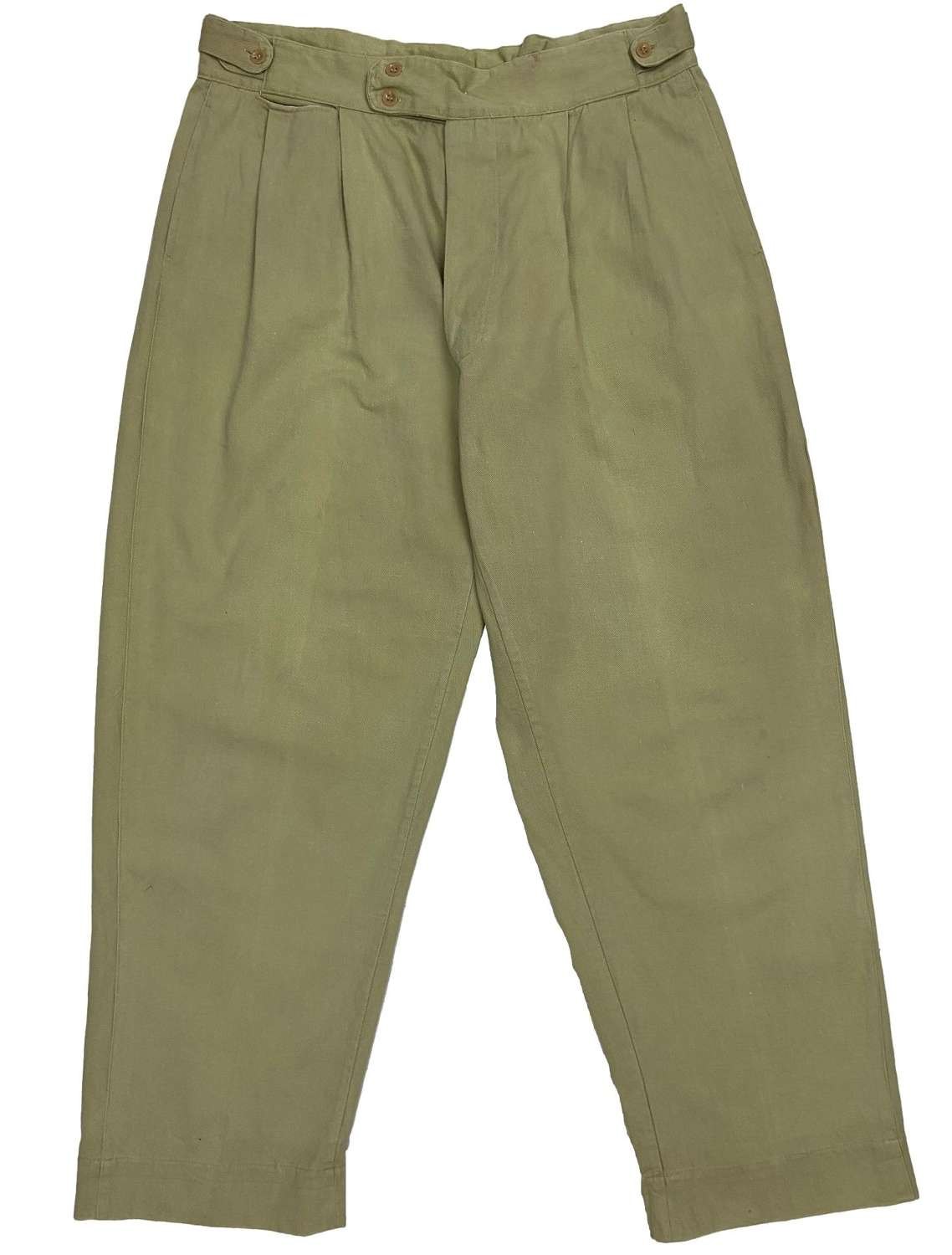 Original 1950s Men's Cotton Drill Summer Trousers by 'Selrig'