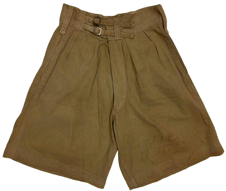 Original 1943 Dated British Indian Made Khaki Drill Shorts