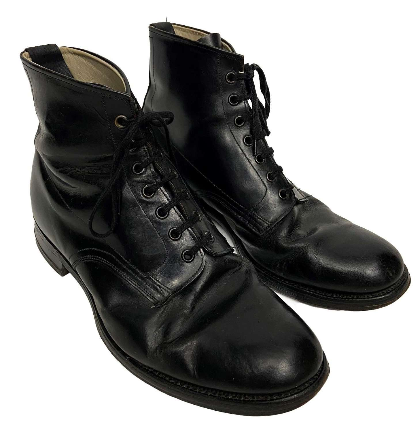 Original 1950s Black Leather GPO Post Officer Works Boots - Size 10