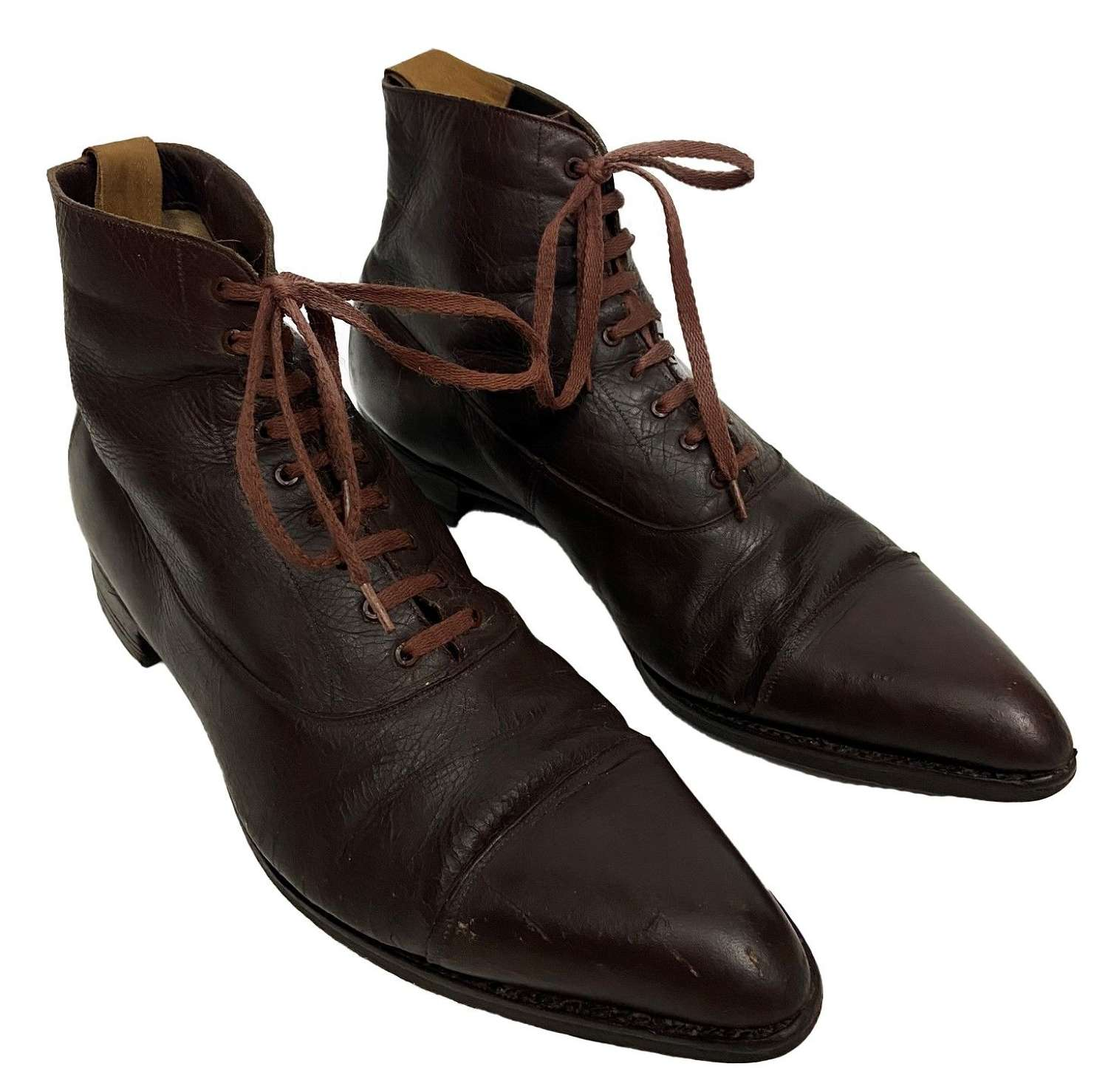 Original Victorian Men's Brown Leather Ankle Boots - Size 7
