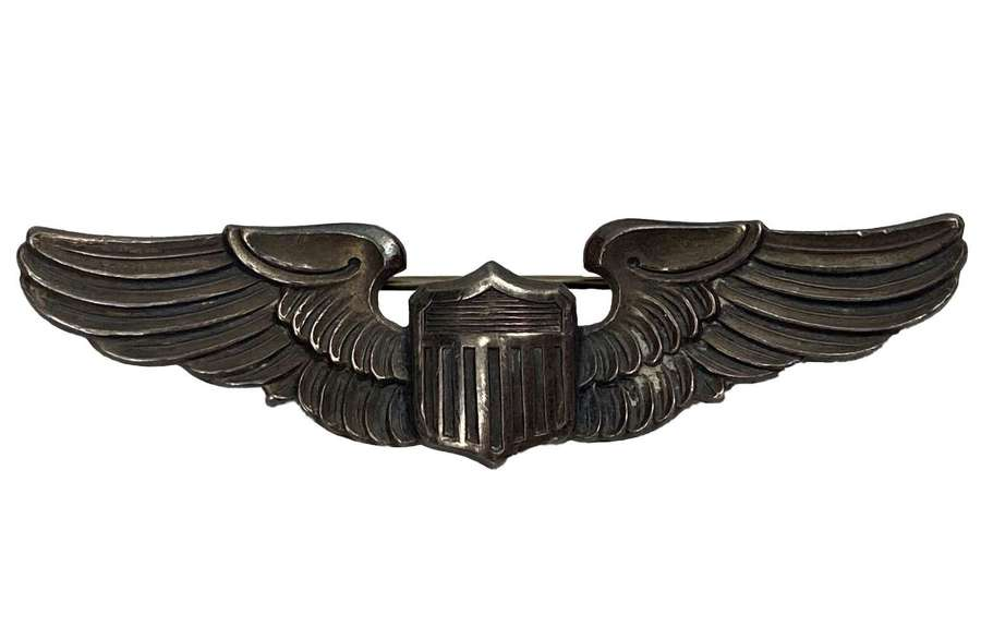 Scarce Early WW2 USAC Sterling Silver Pilots Wing by 'Amico'