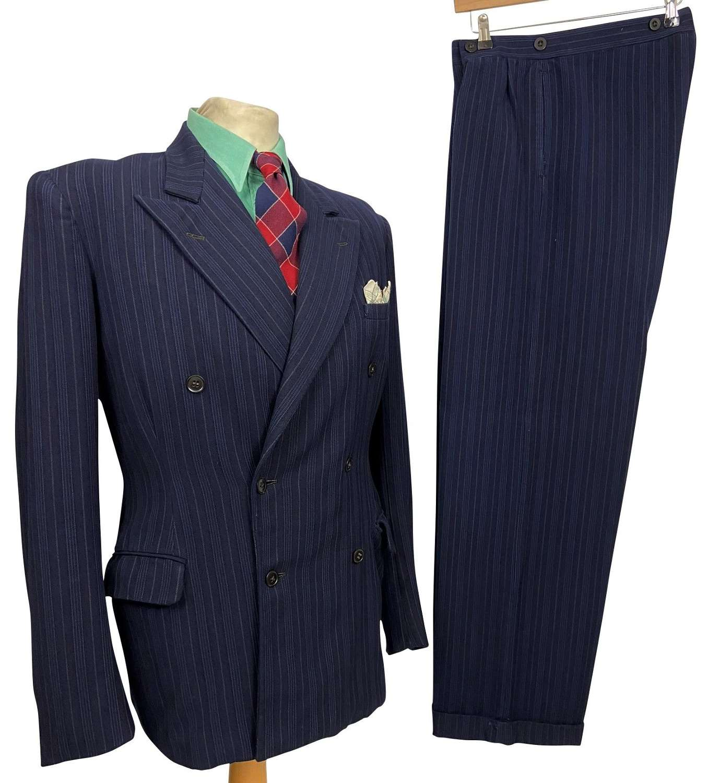 Original 1940s CC41 Blue Pinstripe Double Breasted Men's Suit - 42