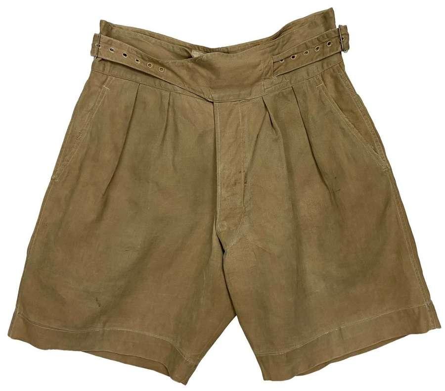 Original 1950s British 1950 Pattern Khaki Drill Shorts - Size 2