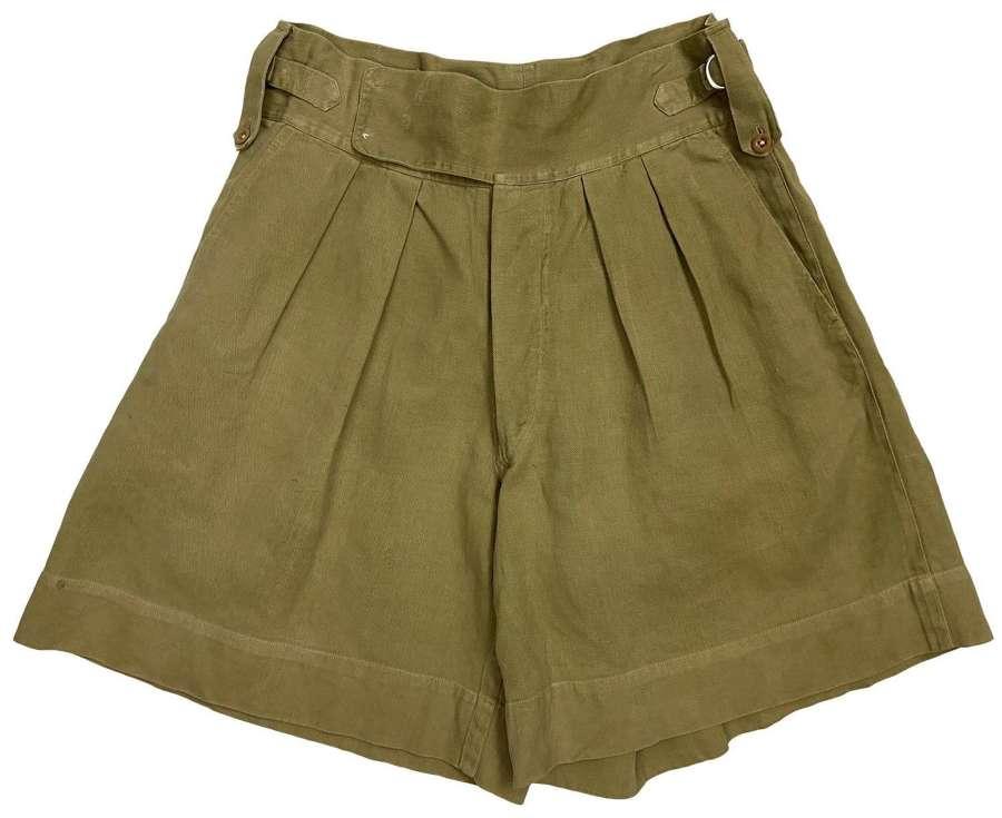 Original 1940s Theatre Made Khaki Drill Shorts - Size 31