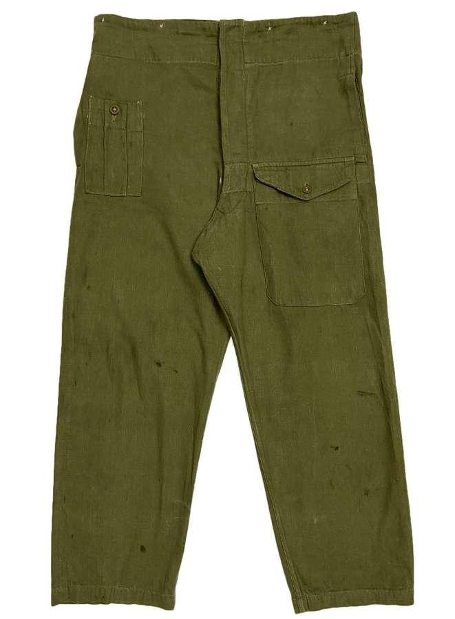 Original 1954 Dated British Army Denim Battledress Trousers - Size 4